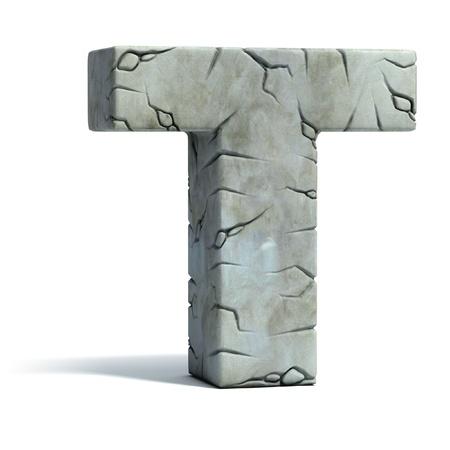 edad de piedra: la letra T de la fuente de piedra agrietada 3d Foto de archivo