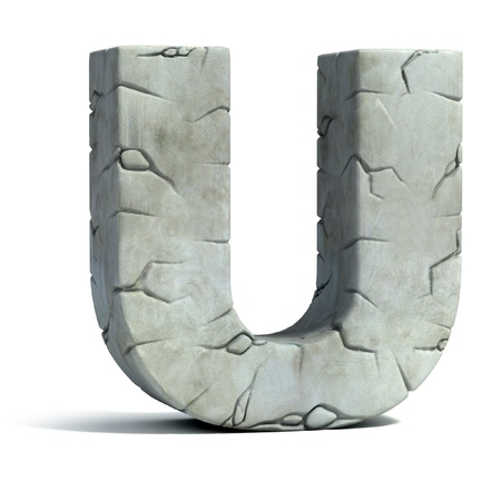 capitel: la letra U de la fuente de piedra agrietada 3d