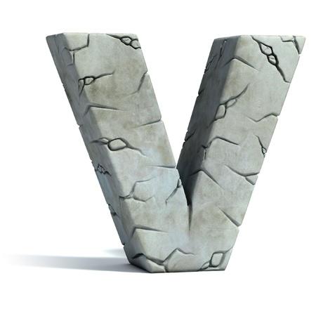 font: la letra V de la fuente de piedra agrietada 3d Foto de archivo