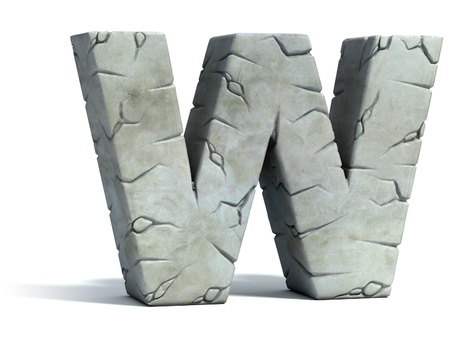 set in stone: letter W cracked stone 3d font