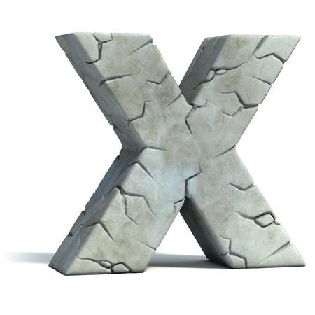 cartas antiguas: la letra X roto la piedra de la fuente 3d