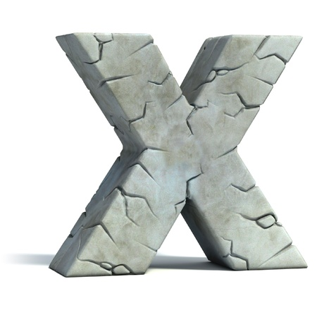 set in stone: letter X cracked stone 3d font  Stock Photo