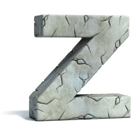 letter Z cracked stone 3d font  photo