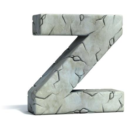 ancient alphabet: letter Z cracked stone 3d font
