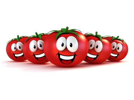 funny cartoon tomatoes  photo