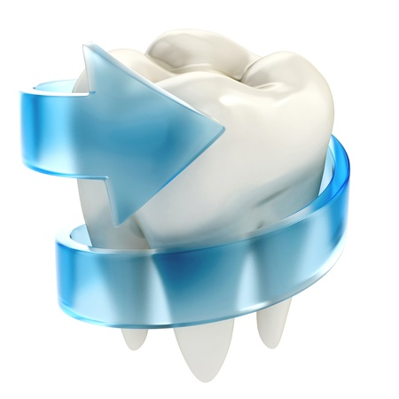 dental caries: teeth protection 3d concept