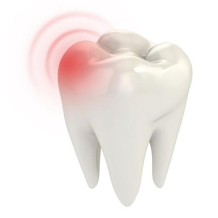 dientes caricatura: el dolor de muelas 3d concepto de