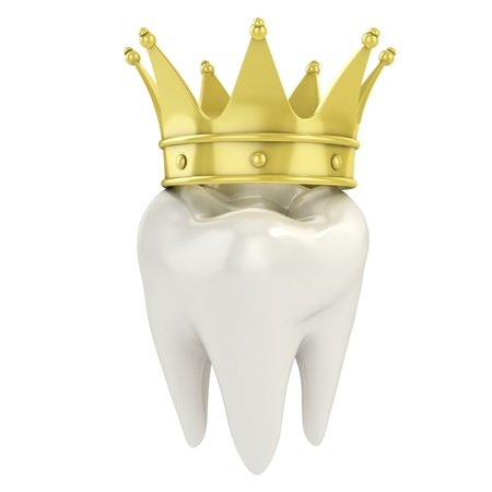 tooth icon: single tooth with golden crown 3d illustration