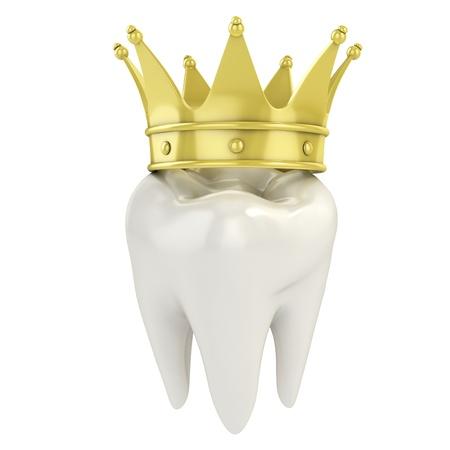 diente caricatura: solo diente con una corona de oro 3d ilustraci�n