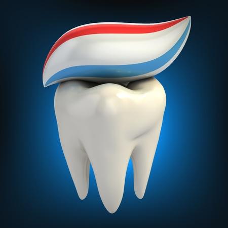 higiene bucal: cuidado dental - pasta de dientes en los dientes Foto de archivo