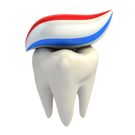 whitening: dental care - toothpaste on tooth