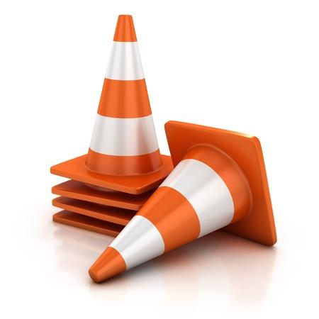 traffic cones 3d illustration Stock Illustration - 12557856