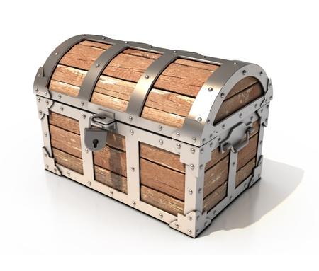 cofre del tesoro: 3d ilustración en el pecho Foto de archivo