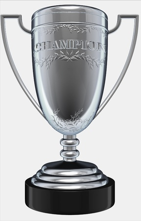 champion trophy isolated on white  photo