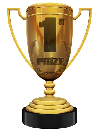 prize: first prize 3d trophy  Stock Photo