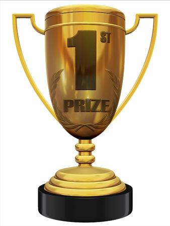 remise de prix: le premier prix troph�e 3d Banque d'images