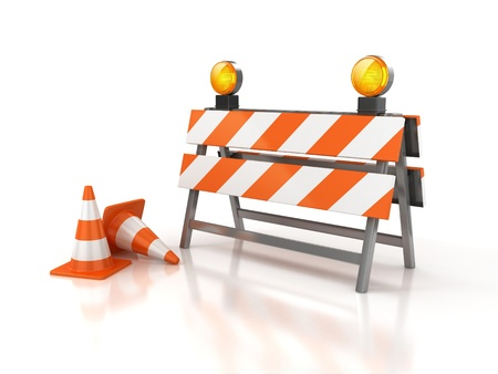 road safety: under construction 3d illustration  Stock Photo
