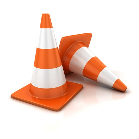 road barrier: traffic cones 3d illustration