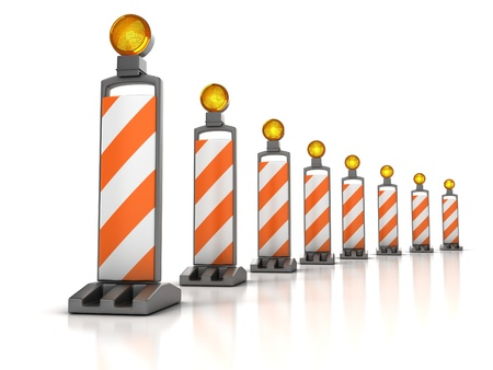traffic works - Vertical Panel Channelizer Stock Photo - 12557840