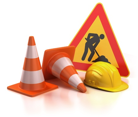 road work: under construction 3d concept Stock Photo