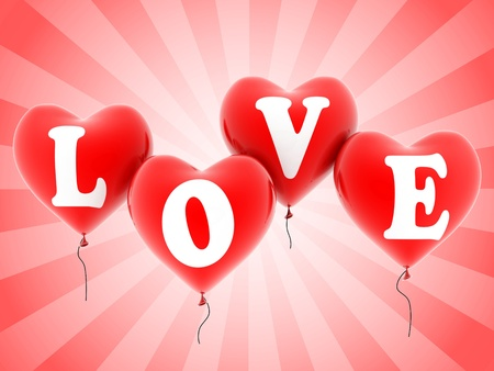 love balloons 3d illustration Stock Illustration - 12557816