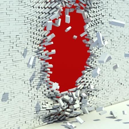 pared rota: pared de ladrillos rotos - 3d concepto de la destrucci�n Foto de archivo