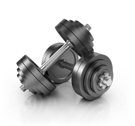 kilos: dumbbell weights isolated on white 3d illustration