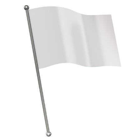 flag pole: white flag isolated