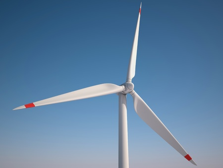 Wind power station against the blue sky - Power generation wind turbines - alternative energy 3d concept  photo