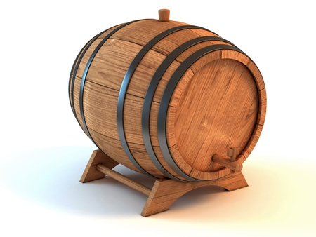 cask: wine barrel 3d illustration isolated on the white background
