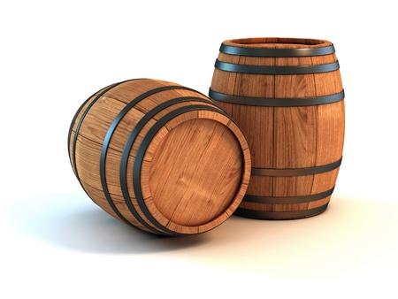 whisky: deux tonneaux de vin isolés sur l'illustration 3d fond blanc