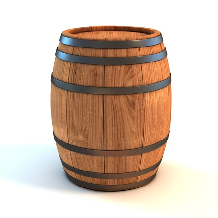 distillery: wine barrel over white background 3d illustration  Stock Photo