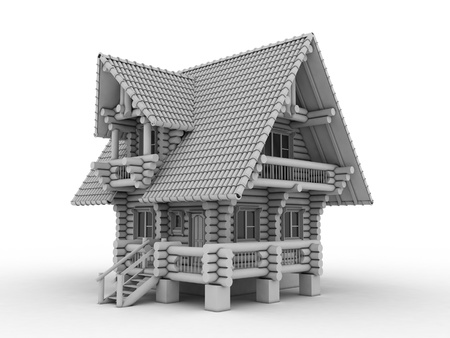 lodge: log house on white