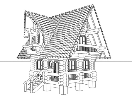 wooden house drawing  photo