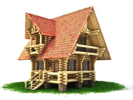 wooden house 3d illustration on white Reklamní fotografie