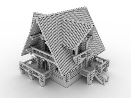 wooden house model isolated on white background  photo