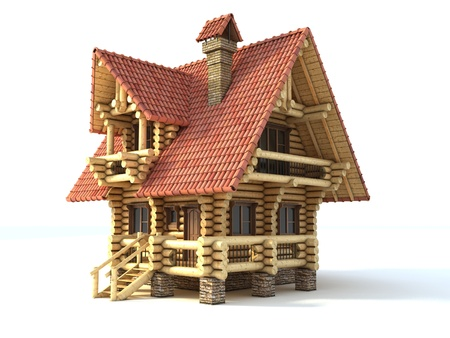 wooden house 3d illustration isolated on white  Stock Illustration - 12557831