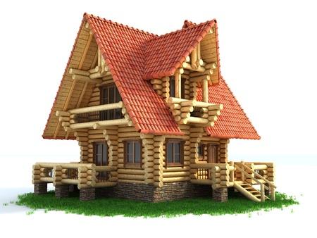 log cabin: log house 3d illustration isolated on white background