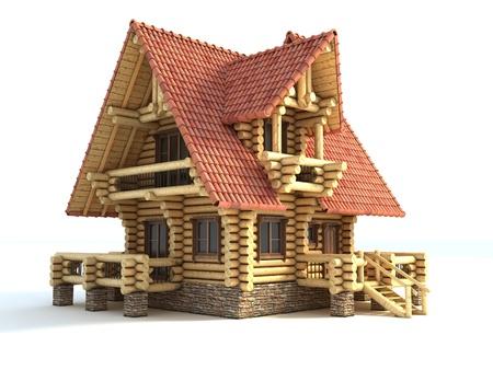 Blockhaus 3d illustration isoliert auf weiß