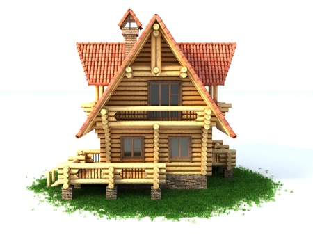 wooden house on white background photo