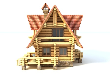 lodge: wooden house 3d illustration isolated on white