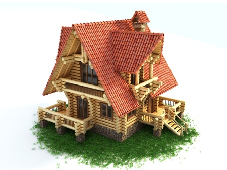 log house 3d illustration isolated on white background illustration