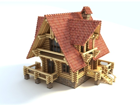 small house: log house 3d illustration isolated on white Stock Photo