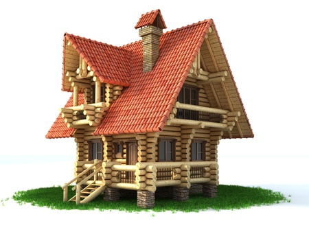 toy house: wooden house 3d illustration on white
