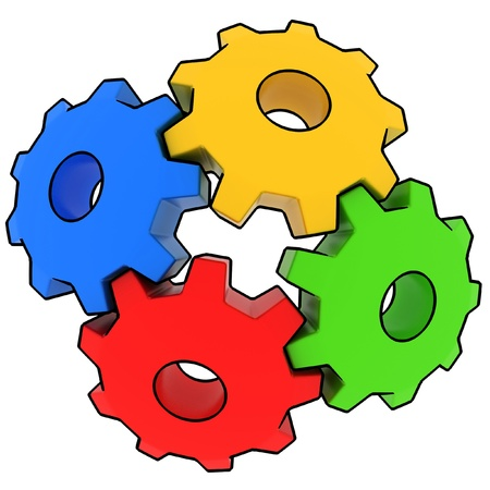 cogwheels: colorful gears on white background
