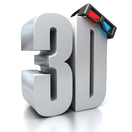 3 dimensions: 3d sign with glasses Stock Photo
