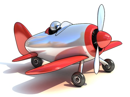 airplane cartoon: cartoon like airplane 3d illustration isolated on white background