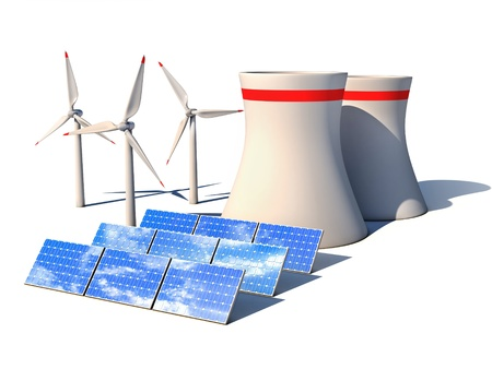 alternative energy 3d concept - Wind power station nuclear power plant and solar panels against white background 3d render  photo