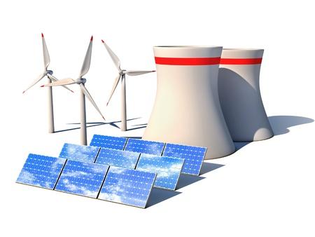 radiacion solar: energías alternativas concepto 3d - La energía eólica planta de la estación de energía nuclear y los paneles solares contra el fondo blanco 3d