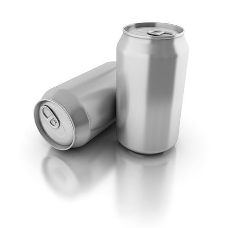 blank aluminium cans on a white background  photo